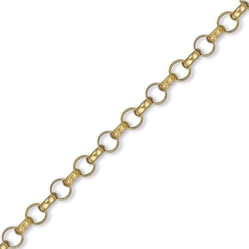 Jewelco London 9K Gold graviert Guss belcher 7.8mm Halskette -