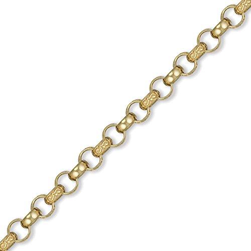 Jewelco London 9K Gold graviert Guss belcher 8.5mm Halskette -