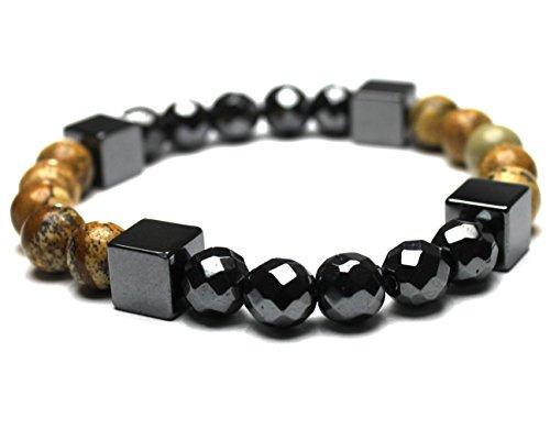 JOCALIO Armband Edelstein Grau Perlen Herren Choker Kette Fashion Buddha Stein Holz Braun Silber Bracelet Vintage Modeschmuck -