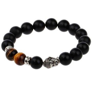 JOCALIO Buddha Armband Kette Tigerauge Herren Damen Stein Holz Braun Silber Mode Vintage Schmuck -