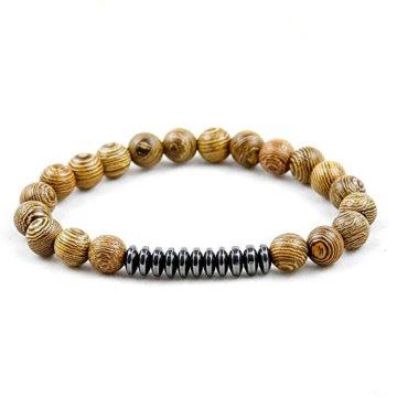 JOCALIO Perlen Armband Damen Bracelet Herren Obsidian Fashion Onyx Vintage Lava Buddha Edelstein Holz Mode-Schmuck -