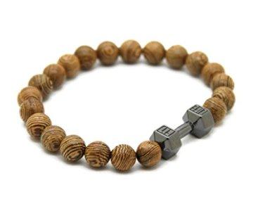 JOCALIO Sport-Armband Herren-Schmuck Wood-Beads Holz-Perlen Fitness-Fashion Damen-Band Vintage -