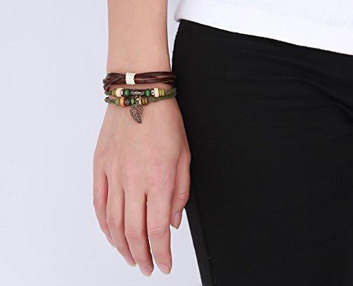 joielavie Schmuck Armband Armreif Hohl Blatt Holz Perle Multilayer geflochten Leder Bronze Legierung Schnalle verstellbar Vintage klassischen Armband Hand Seil Geschenk für Damen Frauen -