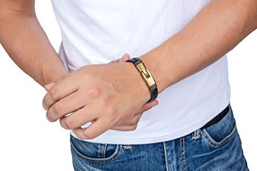 Jstyle Lederarmband Handgemachte Herrenarmband 22cm Armreif Braun Armband Damen Junge -
