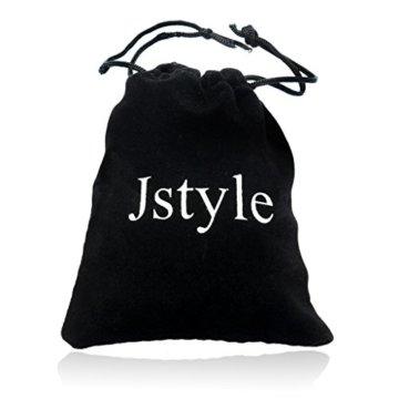 Jstyle Schmuck Edelstahl Armbänder Leder Schwarze Armband für Männer 20/22 CM Länge -