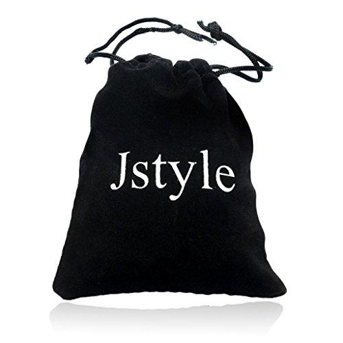 Jstyle Schmuck Flechten Armbänder Lederarmband Herren Damenarmband für Herrenarmband Schwarz Männer Lederarmband mit Verschluss aus Edelstahl 20cm -