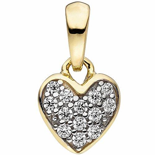 Kinder-Halsketten-Anhänger Herz 375 Gelbgold zweifarbig 13 Zirkonia -