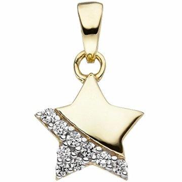 Kinder-Halsketten-Anhänger Stern 375 Gelbgold 9 Zirkonia -