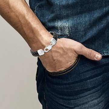 KUZZOI Herren Lederarmband / Herrenarmband in schwarz mit massivem Silber Verschluß aus 925 Sterling Silber – 235002 -