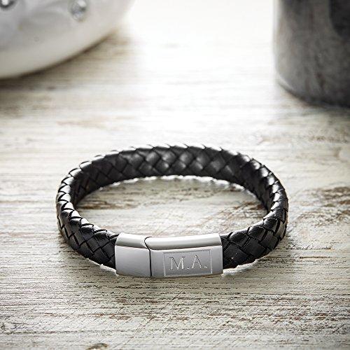 Lederarmband für Herren mit Gravur – Personalisiert mit Initialen – Herrenschmuck – Individuelles Armband als Männergeschenk – Originelles Schmuck-Geschenk für Männer -
