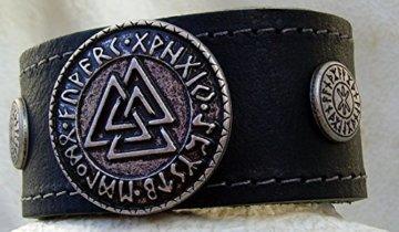 Lederarmband Wotansknoten mit Odins Schutz Farbe schwarz -