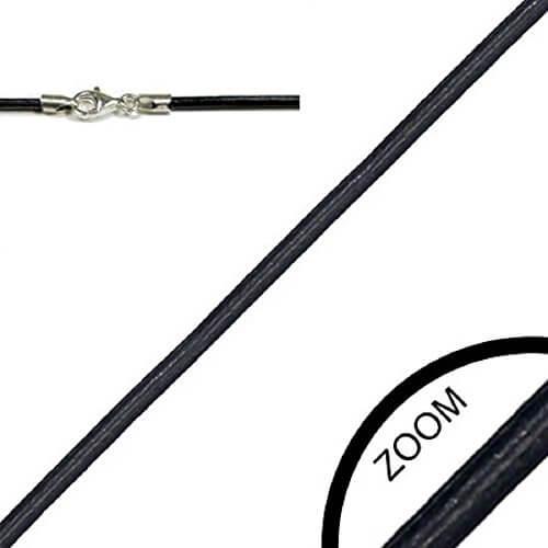 Lederkette LSR 11 Schwarz 55 cm / 2 mm Halskette Leder mit 925er Sterling Silber Karabiner-Verschluss -