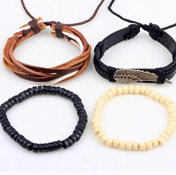 Männer Gewebt Lederarmband Perlen Armband Aus Holz Perlengröße Kann Eingestellt Werden -