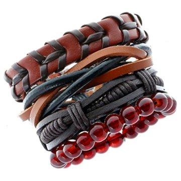 MagiDeal Damen Armband Einstellbare Böhmische Mehr Sichtig Seil mit Bunten Holz Perlen Schmuck -