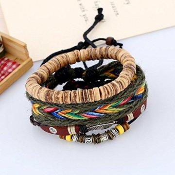 MagiDeal Satz von 3 Stk. Damen Armband Einstellbare Böhmische Mehr Sichtig Seil mit Bunten Holz Perlen Schmuck -