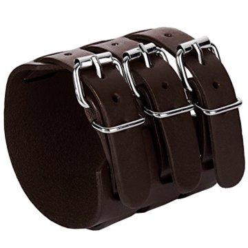 mendino Unisex Herren Paar 3Schicht Breite Gürtel Armband braun Echt leder Armband mit 1x Ohrstecker Tasche