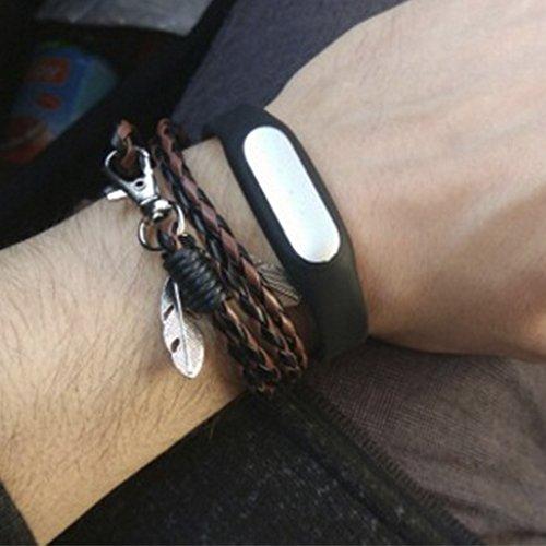 MESE London Schwarz & Braun Wikinger Geflochtenes Armband Tribal Braded Seil Mit Federn Anhänger -