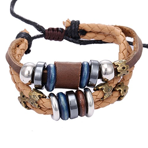 Morella Damen Lederarmband Set 3 einzelne Armbänder mit Beads und Verzierungen -