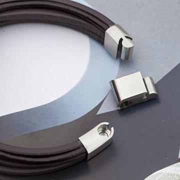 Murtoo Echt-Leder Armband schwarz braun mit Edelstahl Magnet verschluss 8.07″(21cm) -