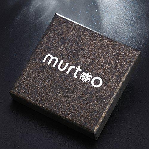 Murtoo Edelstahl Echtleder Armband schwarz braun geflochten mit Magnet Verschluss(22cm) (BraunB) -