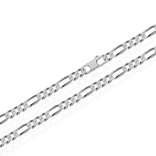 NKlaus echte 925er Sterlingsilber Figaro Kette 6x diamantiert 4,00mm breit -
