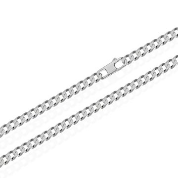 NKlaus echte 925er Sterlingsilber Panzerkette 6x diamantiert 4,00mm breit -