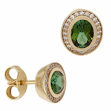 Ohrstecker 585 Gelbgold 2 Turmaline grün, 48 Diamant-Brillanten -