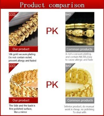 OPK Jewellry 18K vergoldetes Herren-Armband Cooles Ketten-Armband, tolles Hochzeits-Geschenk 21cm -