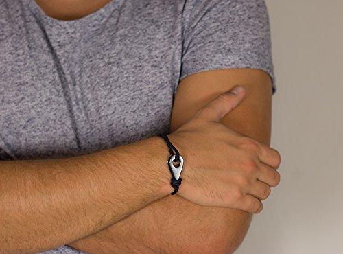 """PALM & FINS """"Single Fin"""" Silber Herren-Armband aus hochwertigem Nylon und rostfreiem Edelstahl – Größenverstellbar -"""