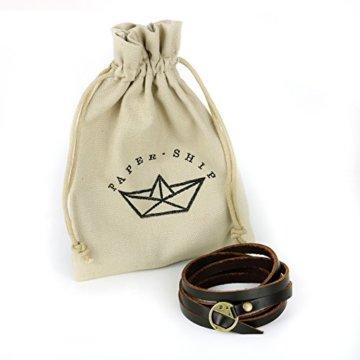 "Paper-Ship Armband ""Monaco"" – Wickelarmband aus Leder, verstellbare Größe -"