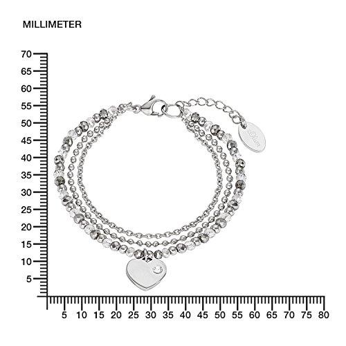 s.Oliver Damen-Armband 17+3 cm verstellbar mit Herz-Anhänger Edelstahl Glassteine grau silber -