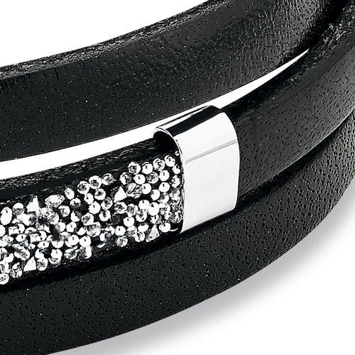 s.Oliver Damen-Armband 54+3 cm Edelstahl Leder Swarovski Kristalle -