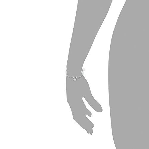 s.Oliver Damen-Armband Zopfmuster 17+3 cm mit Stern-Anhänger Edelstahl glänzend Zirkonia weiß -