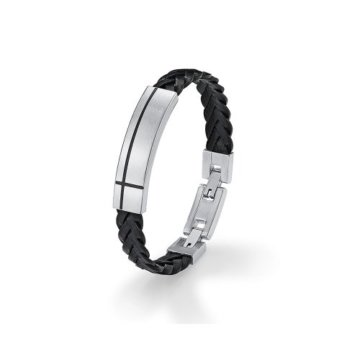 s.Oliver Herren-Armband 19+2 cm Edelstahl Leder -