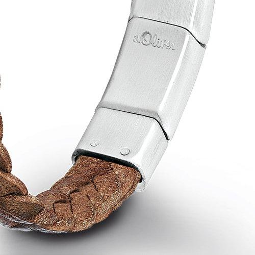s.Oliver Herren-Armband 19,5+1,5 cm verstellbar Edelstahl matt Leder geflochten -