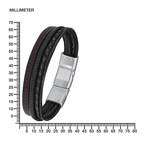 s.Oliver Herren-Armband 20+1,5 cm mehrreihig Edelstahl Leder 21.5 cm 2015057 -