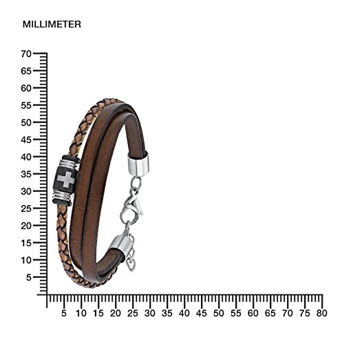 s.Oliver Herren-Armband Kreuz Lederarmband Edelstahl Leder 22 cm-2012631 -