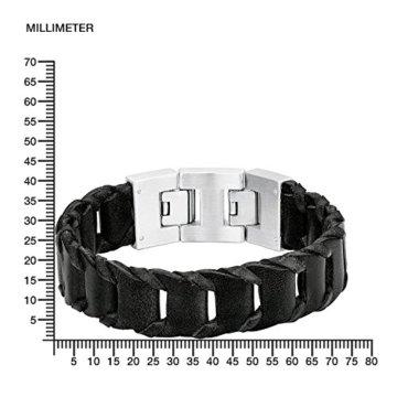 s. Oliver Herren-Armband Lederarmband Edelstahl Leder 22 cm – 5405 -