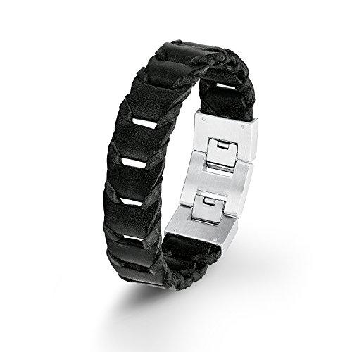 s. Oliver Herren-Armband Lederarmband Edelstahl Leder 22 cm – 5405