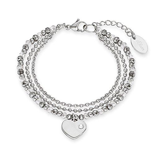 s.Oliver Damen-Armband 17+3 cm verstellbar mit Herz-Anhänger Edelstahl Glassteine grau silber