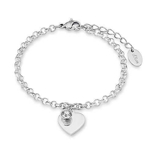 s.Oliver Damen-Armband 17+3 cm verstellbar mit Herz-Anhänger (gravierbar) Edelstahl mit Swarovski Kristall weiß