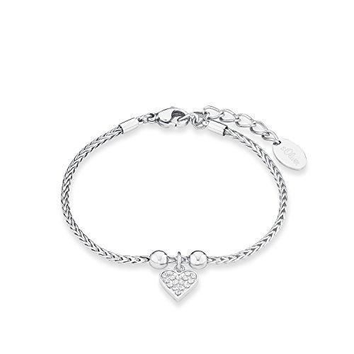 s.Oliver Damen-Armband Zopfmuster 17+3 cm mit Herz-Anhänger Edelstahl glänzend Zirkonia weiß