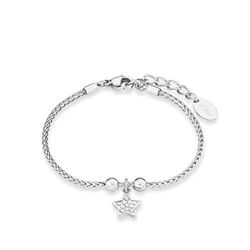 s.Oliver Damen-Armband Zopfmuster 17+3 cm mit Stern-Anhänger Edelstahl glänzend Zirkonia weiß
