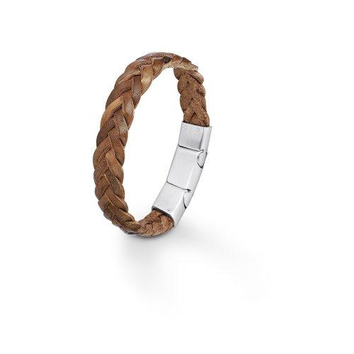 s.Oliver Herren-Armband 19,5+1,5 cm verstellbar Edelstahl matt Leder geflochten