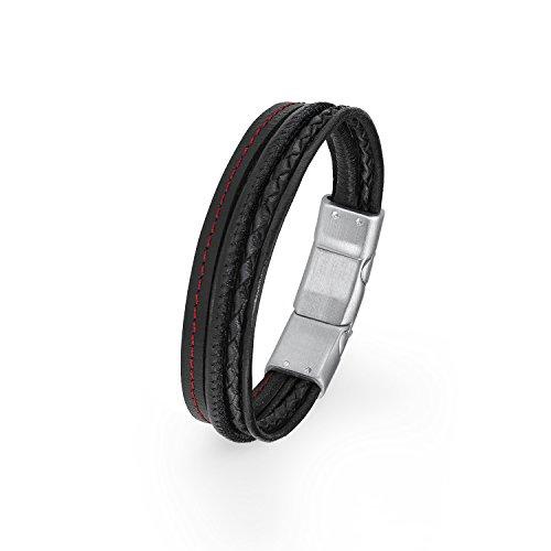 s.Oliver Herren-Armband 20+1,5 cm mehrreihig Edelstahl Leder 21.5 cm 2015057