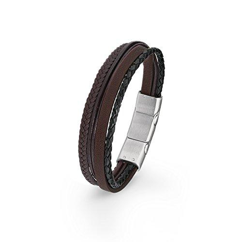 s.Oliver Herren-Armband 20+1,5 cm verstellbar mehrreihig Edelstahl Leder geflochten braun
