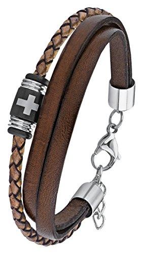 s.Oliver Herren-Armband Kreuz Lederarmband Edelstahl Leder 22 cm-2012631