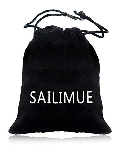 Sailimue Edelstahl Leder Armbänder für Herren Damen Armband 19-21.5CM -