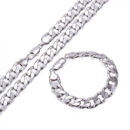sejin sg1208W: 12mm 18K Weiß Vergoldet Armband | Glänzende Silber | weiß gold Kette | Vater 's Day Geschenk | Dad Geschenk | Fashion Halskette | Weihnachten | Weihnachts | Geburtstag Geschenk -