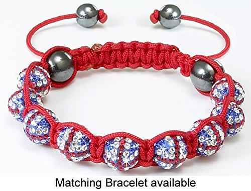Shamballa – Unisex Makramee-Armband mit Union Jack-Design – Kristalle – Blau -